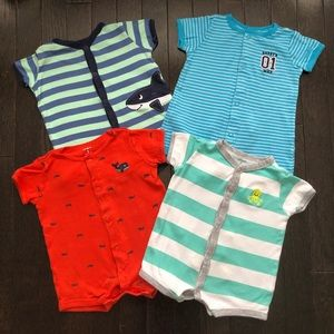 Bundle / Lot of 4 Carter's One Piece rompers 0-3M